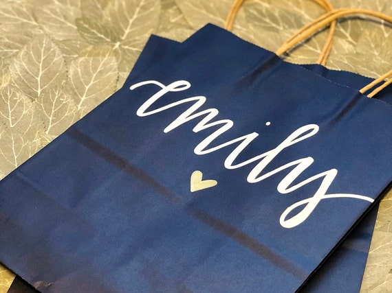 Navy Blue Personalized Gift Bag | Hand-lettered | White and Gold Ink | Bridesmaid Gift | Nautical Wedding