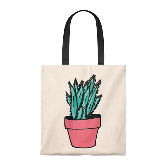 Spiky Plant Tote Bag | Succulent Cactus Southwestern Style Plant Drawing Handbag
