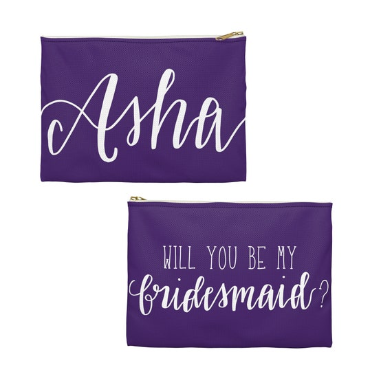 Personalized Bridesmaid Pouch, Custom Bridesmaid Gift, Pencil Case, Rose, Mauve, Dark Sage, Navy Blue, Bridesmaid Proposal, Thank you Gift