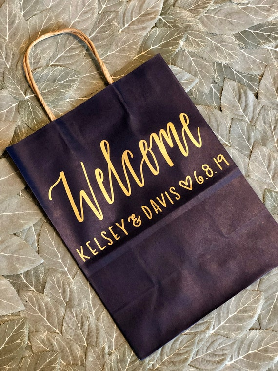 Navy Blue Wedding Welcome Bags | Set of 10 | Personalized Hotel Gift Bags | Gold Hand-Lettering | Names, Wedding Date