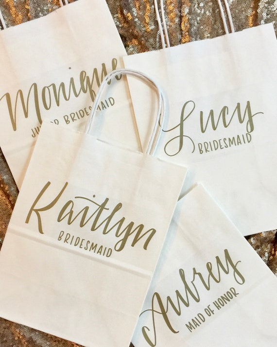 Bridesmaid Gift Bag, Personalized, Bridal Party, Gold, White, Hand-lettered, Customized, Groomsmen, Titles Optional