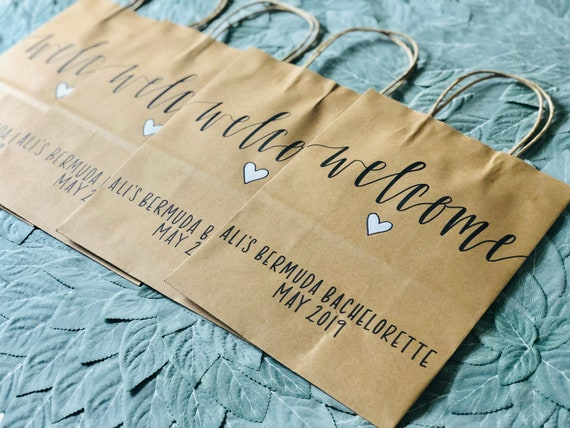 Bachelorette Party Welcome Bags | Personalized Brown Kraft Gift Bags with Custom Text | SET OF TEN | Girls' Trip Gift Bags
