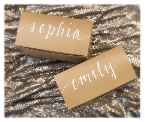 Bridesmaid Gift Box   Wedding Party Proposal Box   Simple Gift Box   Hand-Lettered Personalization   Lowercase Script