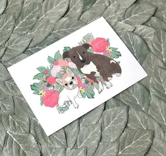 Custom Pet Illustration | 5x7 or 8x10 Print on Heavy Cotton Card Stock | Personalized Dog Portrait with Floral Background