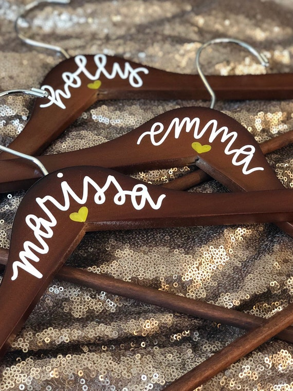 Personalized Wedding Hangers with white hand-lettering and gold heart | Custom Bridesmaid Gift | Bridal Hanger