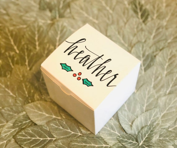 Personalized Holiday Gift Box | Name and Holly Drawing | Hand-Lettered | Custom Message Inside | Christmas Box