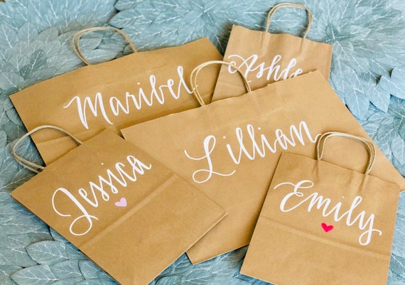 Personalized Gift Bags | Medium or Large | Brown Kraft Bridesmaid Bags | Wedding Favor Bags | Welcome Bags | Hand-Lettered