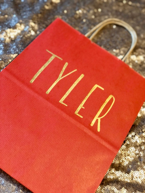 Red Gift Bag | Groomsman or Bridesmaid Gift Bag | Kraft Bag with Gold Block Lettering or Script | Personalized Gift Bag