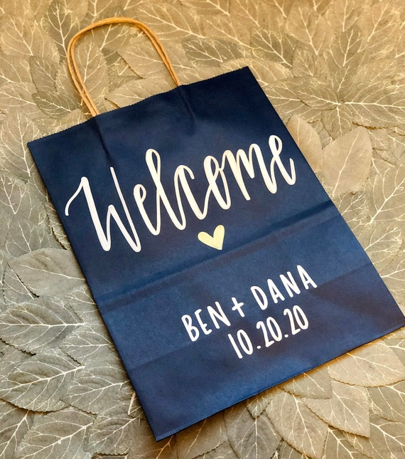 Wedding Welcome Bags | Nautical, Blue and Gold Personalized Gift Bags, Gold Ink | Names, Wedding Date, and Heart | SET OF TEN l Hotel Welcom
