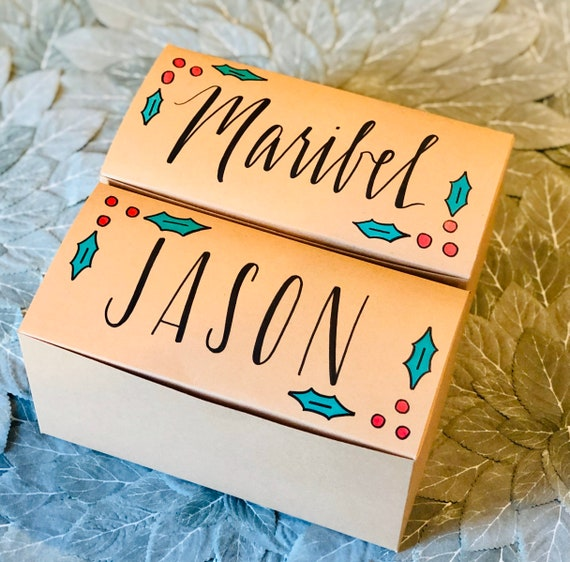 Personalized Holiday Gift Box | Christmas Gift Box with Name and Message Inside | Recycled Brown Kraft Box | Red & Green Holly | Hand-drawn