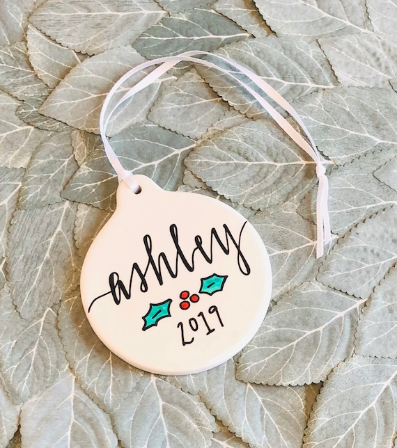 Personalized Christmas Ornament | 3.5 Inches Round Porcelain | Handpainted with Name Holly Design 2019 | Stocking Stuffer