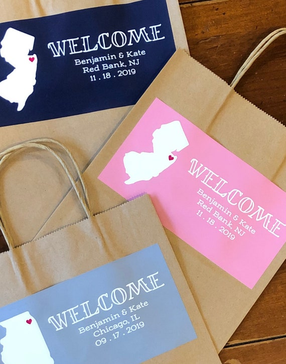 State Wedding Welcome Gift Bags with Names, Date - SET of TEN | Glossy Custom Stickers | Hotel Bags, Out of Town Guests