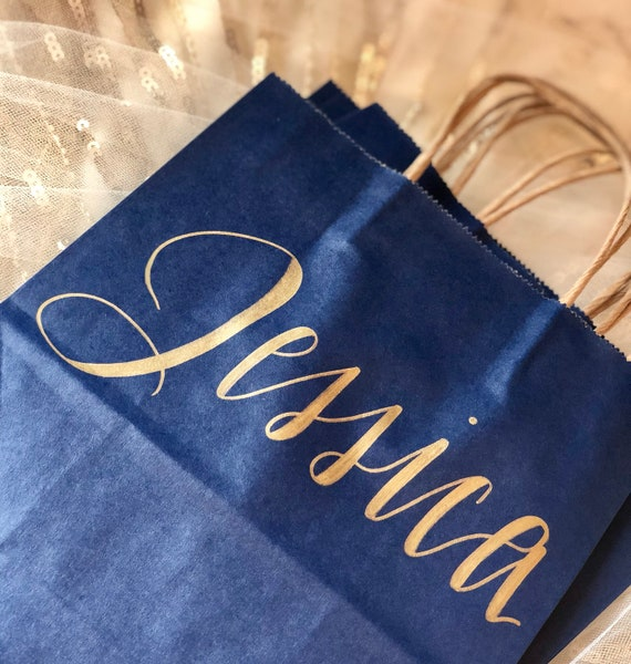 Bridesmaid Gift Bag | Personalized Navy Blue Gift Bag | Hand-Lettered Gold Script | Name and Optional Wedding Role