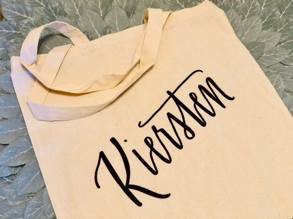 Personalized Canvas Tote Bag | Bridesmaid Gift | 100% cotton | Hand-Lettered Design | Set of 5,  6, 7, 8,