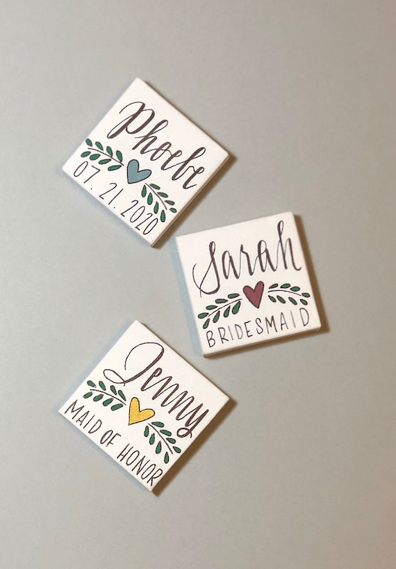 Personalized Bridesmaid Magnets | 2 inch Mini Canvas with Name, Heart and Laurel, Date or Title | Bridal Party
