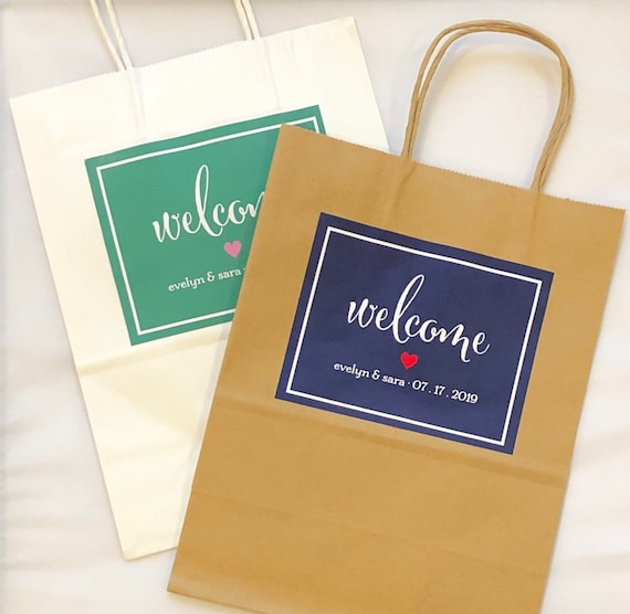 Custom Welcome Bags | Personalized Wedding Gift Bags with Names, Date | Set of 10 Glossy Custom Labels on Paper Gift Bags | Hotel Ba