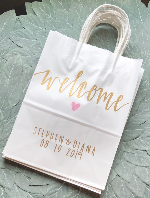 Hand-Lettered Wedding Welcome Bags | Personalized White Gift Bags, Gold Ink | Names, Date, and Heart | SET OF TEN, Hotel Welcome Bags