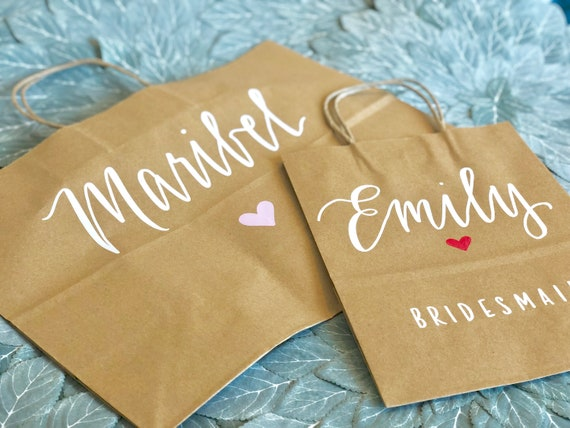 Wedding Gift Bag | Personalized | Optional Title, Choice of Heart Color | Rustic Brown Kraft Hand-Lettered | Medium or Large Recycled Bag
