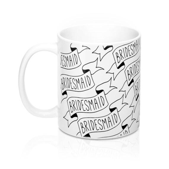 Bridesmaid Mug With Banner, Bridesmaid Gift, Wedding Thank You, Bridal Party, Bridesmaid Proposal, Black  and White, hand-drawn