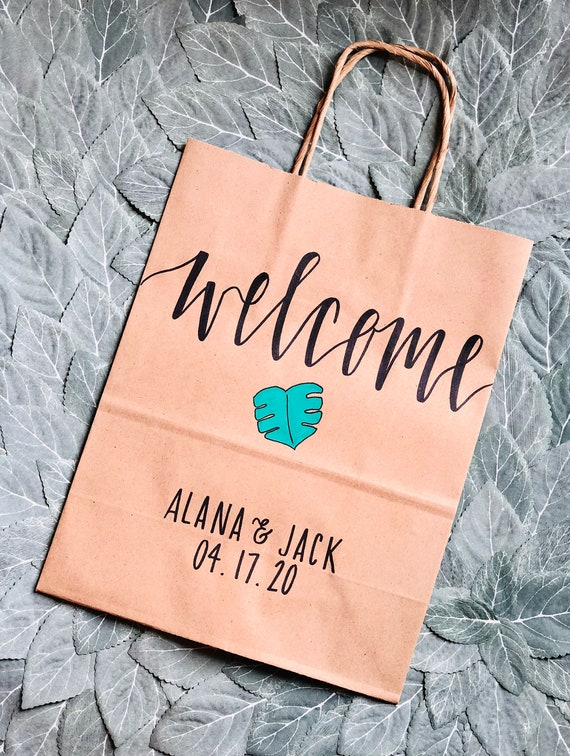 Monstera Leaf Welcome Bags | Tropical Wedding Gift Bags | Names and Date | Set of 10 | Hand-Lettered Hotel Bags | Palm Leaf, Beach Wedding