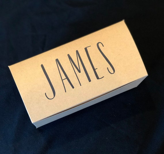 Groomsman Gift Box | Personalized Bridesmaid Gift Box | Brown Kraft, White Ink, Hand-lettered | Wedding Party Gift Box