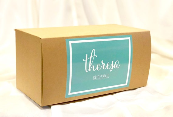 Personalized Gift Box | Bridesmaid Gifts, Proposal | Brown Kraft Box with Glossy Blue, Lavender, or Terracotta Glossy Custom Printing