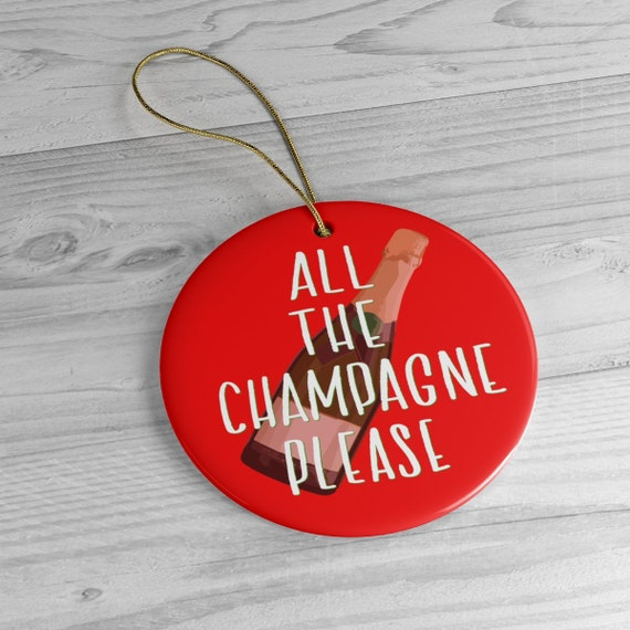 Champagne Bottle Ornament | Congratulations Gift | Bridesmaid Gift | New Years Eve | Stocking Stuffer