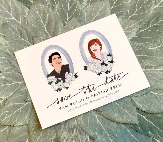 Custom Illustration Save the Date Cards | PRINTED 4.25x5.5 inch Cards and Envelopes | Bride and Groom Portraits Based on Your Photo