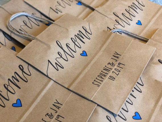 Wedding Welcome Gift Bags | Hand-Lettered, Calligraphy, Brown Kraft, Choice of Heart Color | SET OF TEN | Hotel Guest Bags
