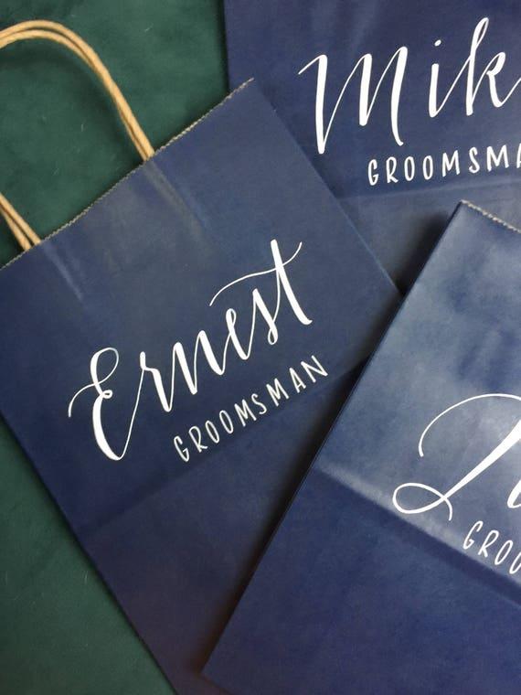 Groomsman Gift Bag, Bridesmaid Gift Bag, Groomsmen, Personalized Gift Bag, Navy or Black Bags, White Ink, Customized, Christmas