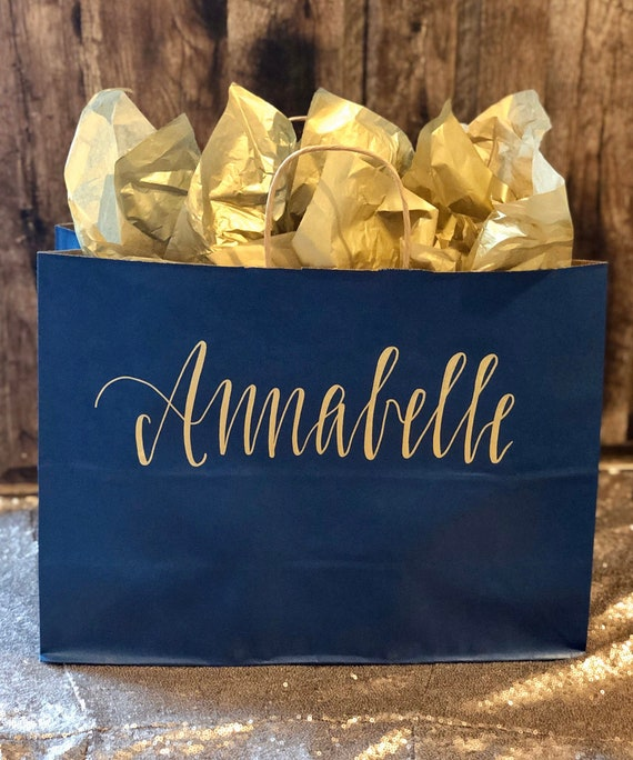 Personalized Gift Bag LARGE | Navy Blue with Gold Hand-lettering, Customized, Bridesmaid, Groomsman Gift, Christmas, Wedding Bag