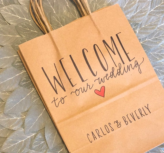 Rustic Brown Kraft Welcome to Our Wedding Bags - Personalized Gift Bags with Names+Wedding Date, SET OF TEN, Hand-Lettered Hotel Bags