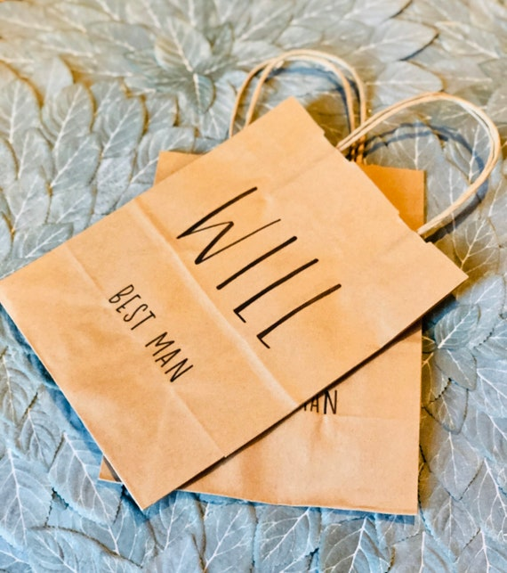 Groomsman Gift Bag |  Bridesmaid Gift Bag | Brown Kraft Bag with Name and Optional Wedding Role/Title | Personalized Gift Bag