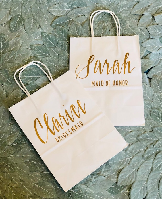 Set of 5 Bridesmaid Gift Bags | Personalized Gift Bags | Wedding Party Gift | White Bag with Gold Script |  Hand-Lettered