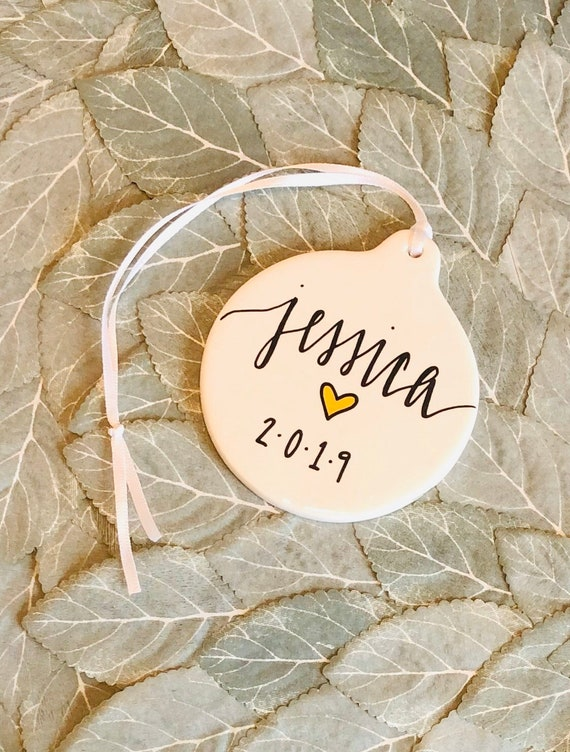 Personalized Name Christmas Ornament | 3.5 Inches Round Porcelain | Handpainted with Name, Gold Heart | Holiday Stocking Stuffer