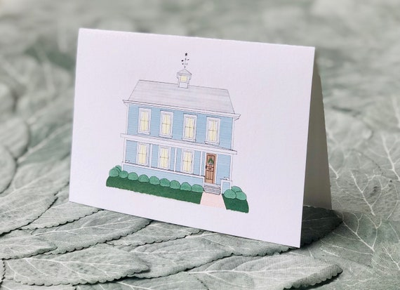 Custom Home Illustration Note Cards | Folded Notecards with Envelopes | House Portrait Greeting Cards | Personalized Family Cards