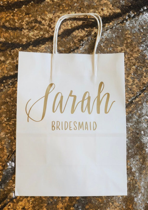 Personalized Gift Bag, Name and wedding role/title, Bridal Party, Gold, White, Hand-lettered, Customized, Bridesmaid Gift, Groomsmen