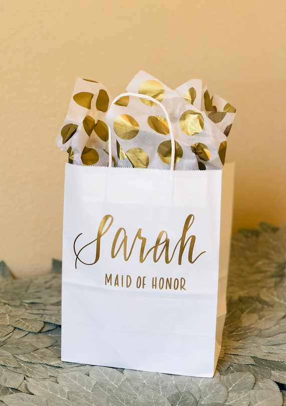 Personalized Gift Bag | Bridesmaid Gift Bag | Hand-Lettered | White Bag, Gold Script | Name and Optional Wedding Role