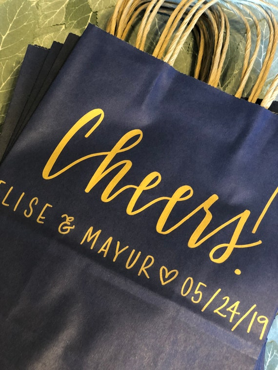 Cheers Wedding Welcome Gift Bags | Set of 10 | Personalized Hotel Bags | Wedding Welcome Bags | Navy and Gold | Wedding Date | Bachelorette