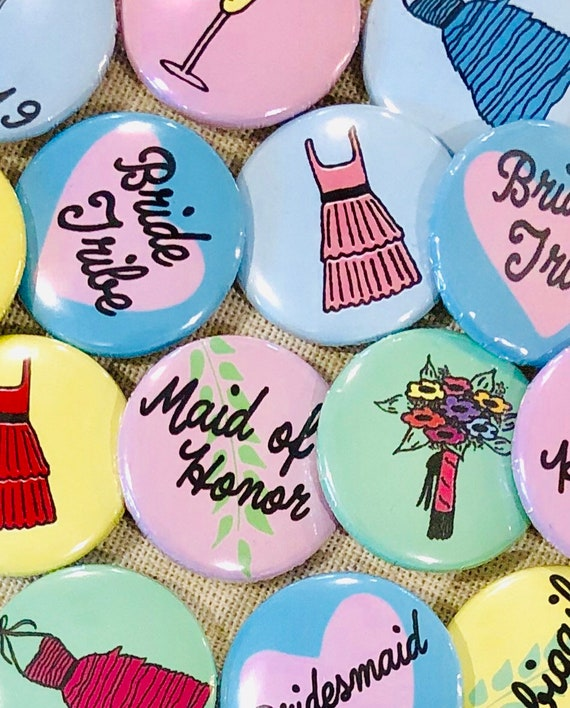 Personalized Wedding Pins | 1 inch | Bridesmaid Gift | Bridesmaid Proposal | Custom Colors Available | Hand-drawn | Personalized Jewelry