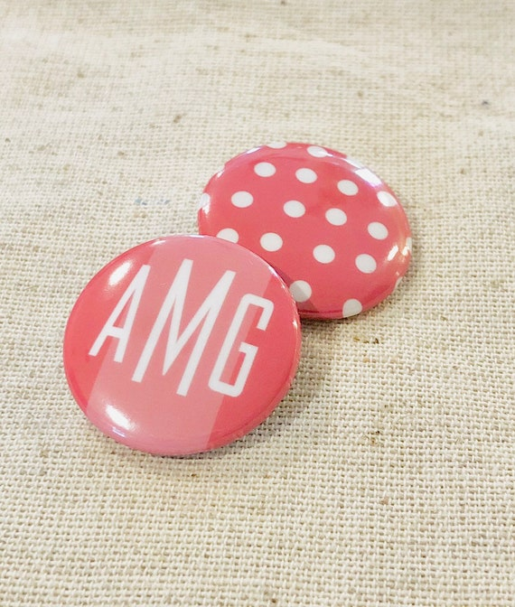 Personalized Monogram Pins | Set of Two 1 inch Lapel Pins | Monogram & Polka Dot | Personalized Jewelry