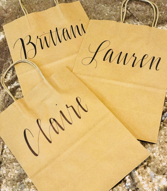 Personalized Brown Kraft Gift Bag | Hand-Lettered Gift Bag | Bridesmaid, Groomsman, Wedding Party Favor Bags | Rehearsal Dinner Bags