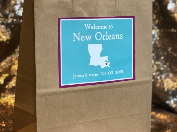 Personalized Welcome Bags | Welcome to New Orleans or Your City and State | Set of 10 Hotel Bags