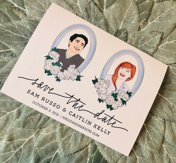 Custom Illustration Save the Date Cards | PRINTED 4.25x5.5 inch Cards and Envelopes | Bride and Groom Portraits
