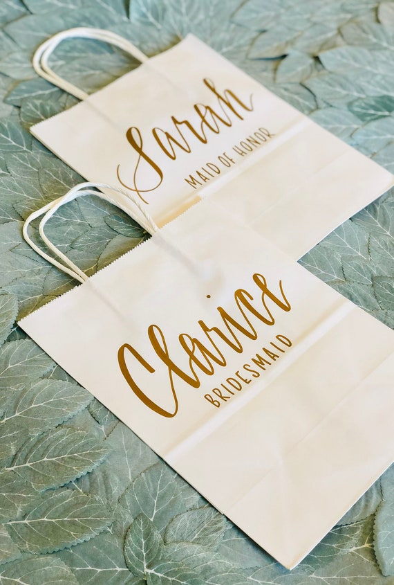 Set of 4 Bridesmaid Gift Bags | Personalized Gift Bags | Wedding Party Gift | White Bag with Gold Script |  Hand-Lettered