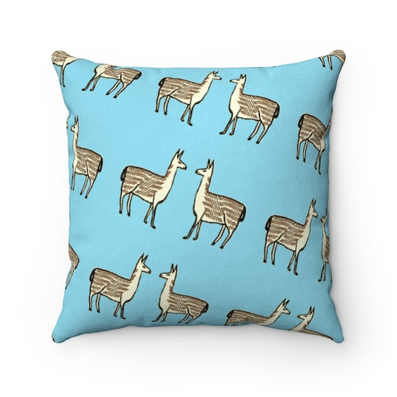 Llama Faux Suede Square Throw Pillow Case | Pillow Not Included | Llama Pattern | Sky Blue | Southwest Decor