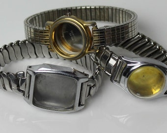 3 Vintage Watch Case and Bands, Silver Tone Watch Cases,