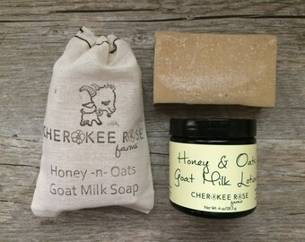 Honey & Oats Goat Milk Soap and Lotion Set