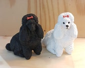 Black White Poodle Miniatures Red Hair Bow Dog Figurine Tiny Pet Collectibles Hand Painted Dollhouse Handmade Craft Resin 4x4Cm(Approx)
