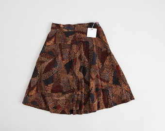 1970s velvet skirt | short full velvet skirt | ethnic print skirt